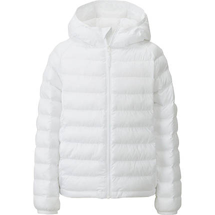 Куртка Uniqlo girls light warm padded parka White, фото 2