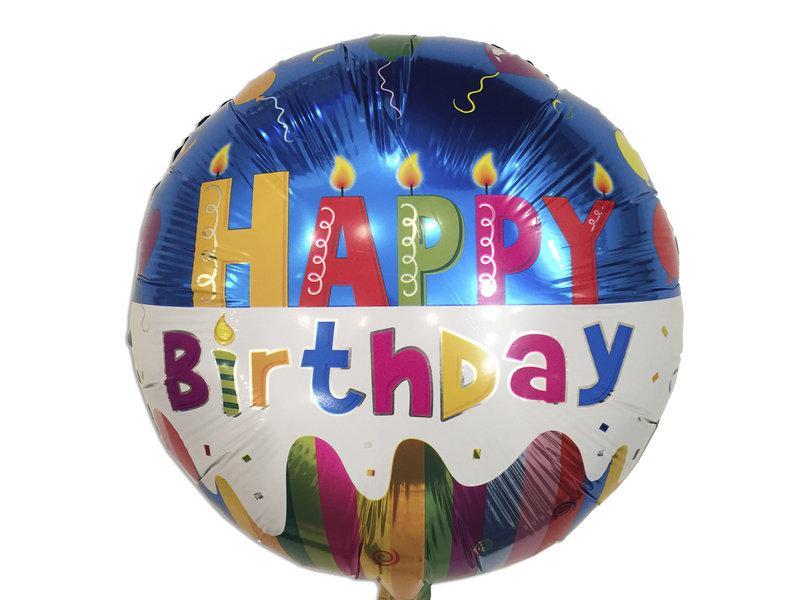Фольгированный шар синий Happy birthday с гелием
