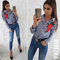 18968c0c497 Хлопковая женская клетчатая рубашка с вышивкой 66BL180