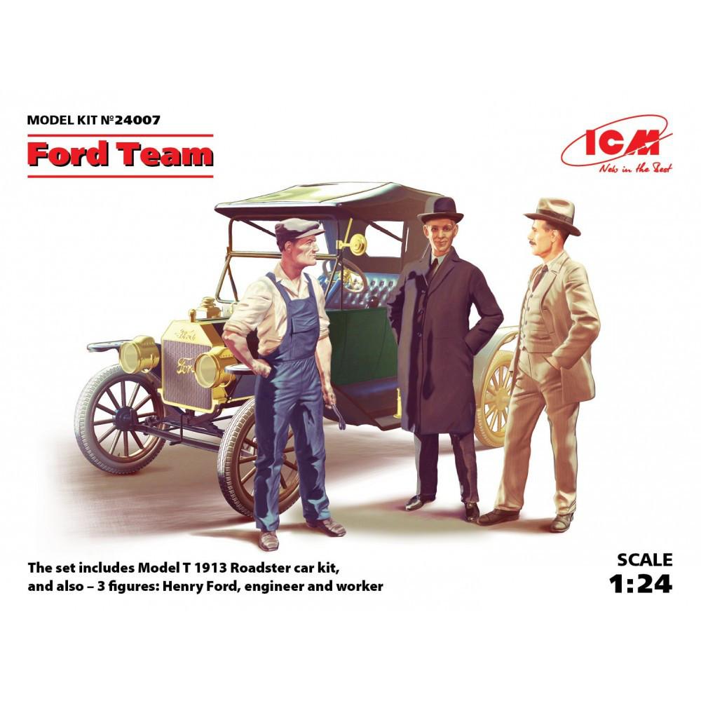 Model T 1913 Roadster с командой Форда. 1/24 ICM 24007