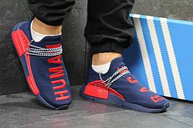 Мужские кроссовки Adidas NMD Human RACE адидас нмд, синие (Топ реплика ААА+)