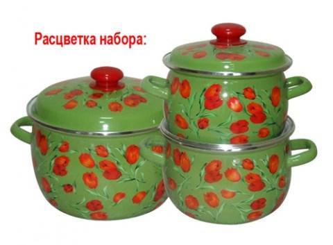 Набір посуду емальований EPOS, Новомосковск, №6 Фан-Тюльпан