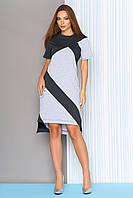 Красивое платье на лето асимметрия прямое короткий рукав с разрезами серое