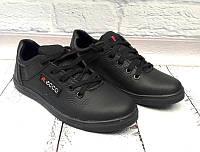 Подростковые туфли Ecco на шнурках кожаные черные 0049ЕМ