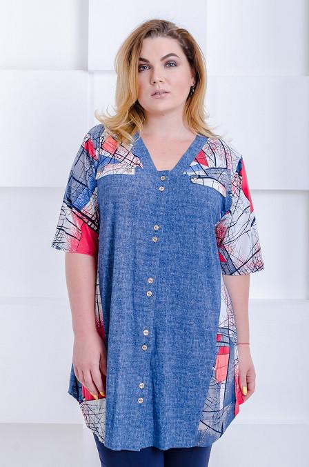 Летняя женская рубашка-туника Юлия джинс-коралл (52-66)