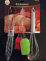 Набор кухонных принадлежностей венчик, лопатка, кисточка, щипцы(4 предмета)