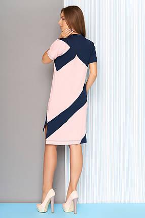 Летнее платье мини разной длины прямое короткие рукава розовое, фото 2