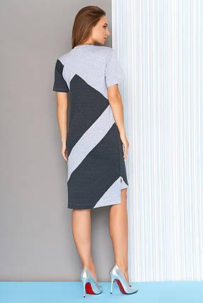 27a668330ed Модное платье на лето асимметричное полуприталенное короткий рукав графит