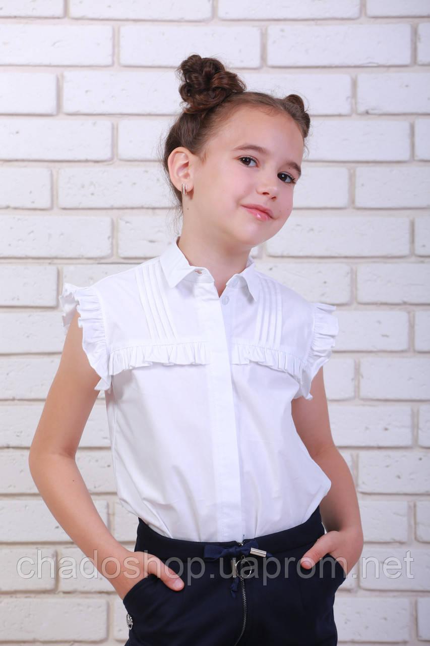d857e8ef254 Купить Детскую белую блузку с коротким рукавом на девочку в школу в ...