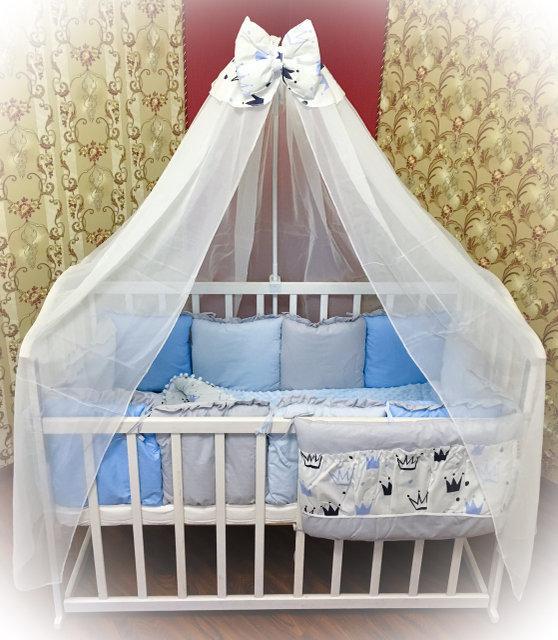 Детский постельный комплект в кроватку с плюшем Минки
