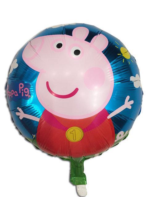 Фольгированный шар синий Свинка Пеппа 45 см.С гелием