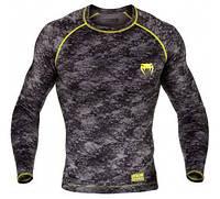 Компрессионная кофта Venum Tramo Rashguard - Long Sleeves - Black/Yellow