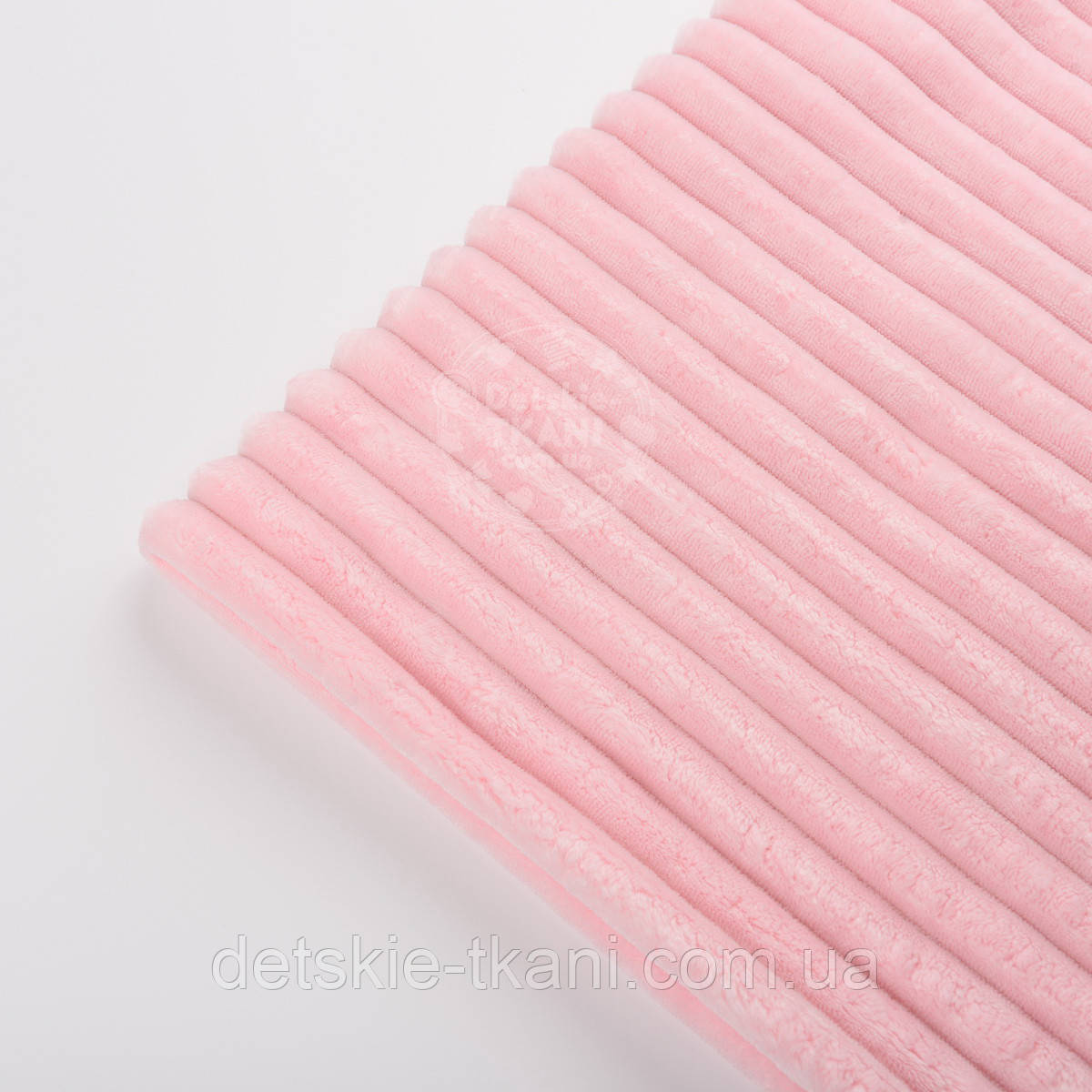 "Отрез плюша в полоску ""Stripes"" размером 100*80 см светло-розового цвета"