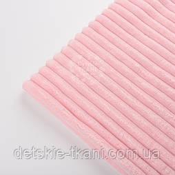 """Відріз плюшу в смужку """"Stripes"""" розміром 100*80 см світло-рожевого кольору"""