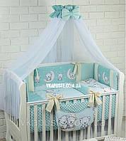 """Комплект в дитяче ліжечко """"Ведмедики на місяці"""" бірюзового кольору, максимальна комплектація, фото 1"""
