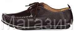 Мужские кожаные мокасины Clarks Casual Boat Brown Кларкс коричневые