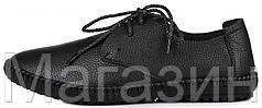 Мужские кожаные мокасины Clarks Casual Sneakers Black Кларкс черные