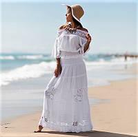 Летняя длинная юбка в пол с кружевом Испания