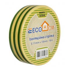Изолента ECO 0,11мм х 18мм 18м желто-зеленая, АСКО-УКРЕМ