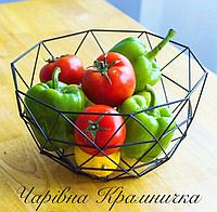 Металлическая ваза для фруктов Геометрия, фото 1