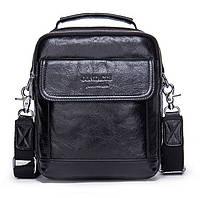 Мужская кожаная сумка барсетка Contacts черная