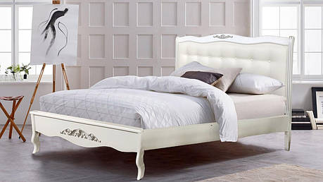 Кровать деревянная белая   Александрия Евродом ,цвет белый + патина серебро обивка изголовья экокожа, фото 2