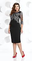 Платье вечернее Мублиз-250 белорусский трикотаж, черный с серым, 52