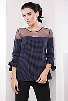 Нежная женская деловая блуза с сеткой и рукавом 3/4 7063/1, фото 1