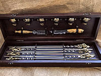 Набор шампуров с рюмками,ножом и вилкой для мяса Люкс Nb Art 14 предм 47330079