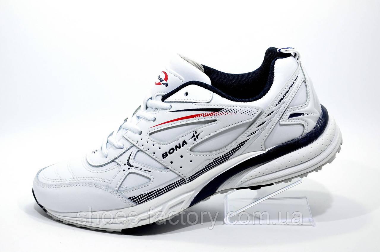 Кожаные белые кроссовки Bona, мужские (Бона)