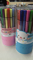 Фломастеры AIHAO 36 цветоветов в пластиковой колбе ( тонкий длинный )