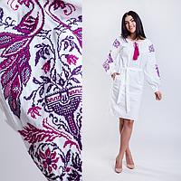 Платье  женское белое вышитое Жар Птица в  этно-стиле