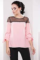 Нежная женская деловая блуза с сеткой и рукавом 3/4 7063/7, фото 1