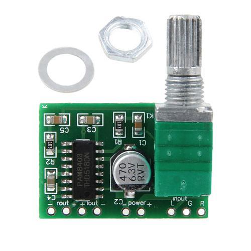Підсилювач звуку 2 x 3 Вт, з регулятором PAM8403 2000-03636