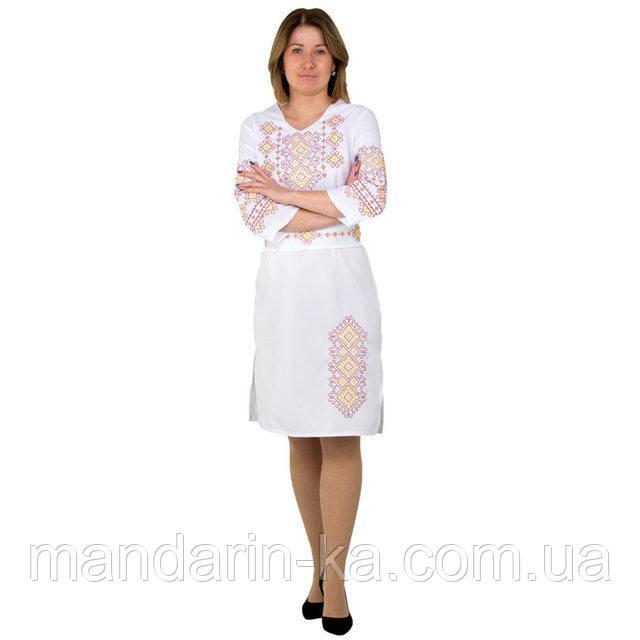 Платье  женское  белое вышитое  Орнамент в этно-стиле