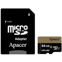 Карта памяти APACER microSDXC 64GB UHS-I U3+adapter (R95, W85MB/s)