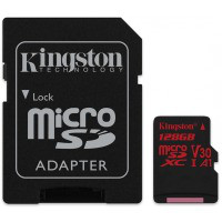 Карта памяти KINGSTON microSDXC 128Gb Canvas React U3 A1 (R100/W80)+ad