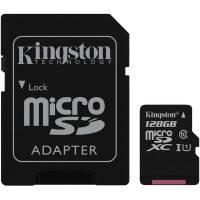 Карта памяти KINGSTON microSDXC 128Gb Canvas Select U1 (R80/W10)+ad