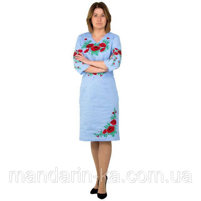 Платье  женское  голубое вышитое Соломия  в  этно-стиле