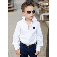 Белая стильная  рубашка  для мальчика, подростка