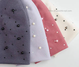 Трикотажные женские шапки с жемчугом 3501