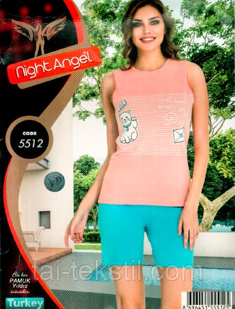 Пижама майка с шортами качество лайкра Night Аngel № 5512