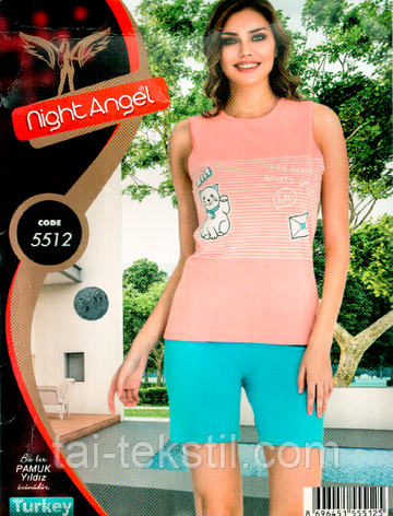 Пижама майка с шортами качество лайкра Night Аngel № 5512, фото 2