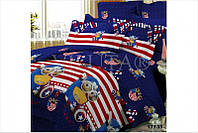Детский полуторный постельный комплект белья Капитан Америка