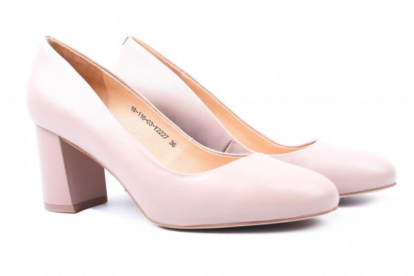 Туфли женские на каблуке из натуральной кожи, бежевые Djovannia (36р)