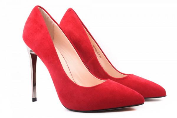 Туфли, лодочки женские на шпильке Glossi натуральная замша, цвет красный.