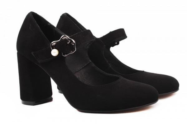 Туфли женские на каблуке Nivelle натуральная замша, цвет черный, Украина.