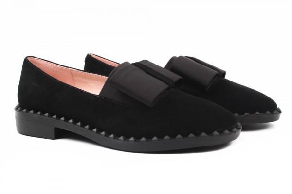 Туфли женские на низком ходу из натуральной замши, черные Angelo Vani (37р.)