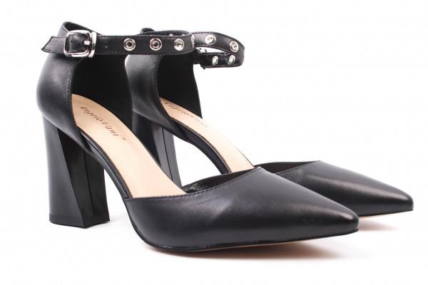 Туфли женские на каблуке из натуральной кожи, черные Angelo Vani (40р.)