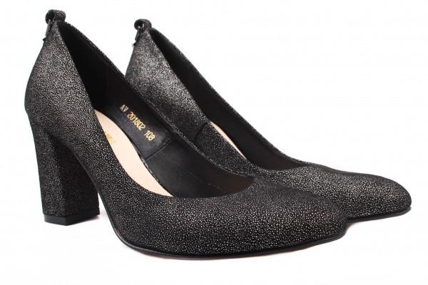 Туфли женские на каблуке из натуральной замши, черные Angels